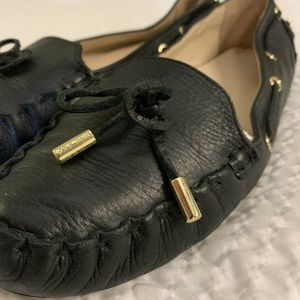 COLE HAAN Black leather Cary Moccasin 9 B Driver